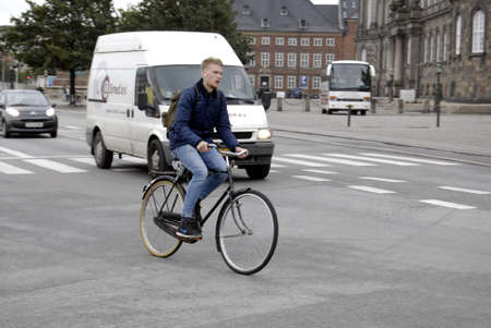 COPENHAGEN/DENMARK _ Cyclest in trafic in Copenhagen today on 4 October 2012      Stock Photo - 15583591