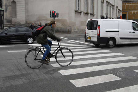 COPENHAGEN/DENMARK _ Cyclest in trafic in Copenhagen today on 4 October 2012          Stock Photo - 15583596