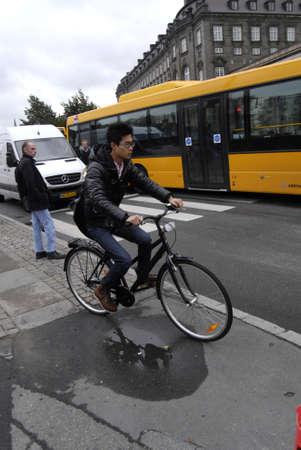 COPENHAGEN/DENMARK _ Cyclest in trafic in Copenhagen today on 4 October 2012           Stock Photo - 15583599