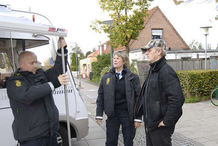 heros: COPENHAGENDENMARK _ Three brave and some kind of Heros and Heroian  danish police officers from Roedover Polciue Station from right Ms.Anja Hoefener (c) Khalid Jahial and lieft Ulrik Rasmussen on 2 years serving the nations campaign today on Islev Torv t Editorial