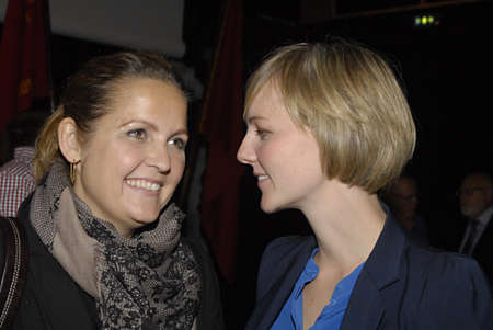 fale: COPENHAGENDENMARK _Ms.Pia Olsen Dyre(L)long hair minister for trade  SF party and Ida Auken SF party minister for climate (shorthair) at Ssocial falke party convention tofday on 13 Oct. 2012