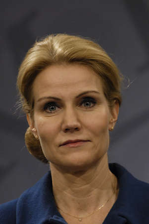 COPENHAGEN/DENMARK _ Ms.Helle Thorning-Schmidt danish prime minieter in blue cneter holds Press meeting with Ms.Margrethe Vestager Minister for Economy and  minister for home affairs  from Radical liberal party  and newly elected SF chairwoman  and new Mi Stock Photo - 15838136
