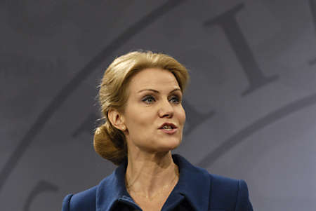 COPENHAGEN/DENMARK _ Ms.Helle Thorning-Schmidt danish prime minieter in blue(c)holds Press meeting with Ms.Margrethe Vestager Minister for Economy and home minister from Radical liberal party  and newly elected SF chairman womam and new Minister for Busin Stock Photo - 15838140