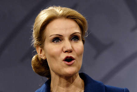 COPENHAGEN/DENMARK _ Ms.Helle Thorning-Schmidt danish prime minieter in blue(c)holds Press meeting with Ms.Margrethe Vestager Minister for Economy and home minister from Radical liberal party  and newly elected SF chairman womam and new Minister for Busin Stock Photo - 15838153