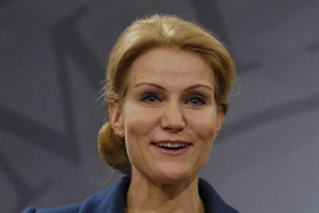 COPENHAGEN/DENMARK _ Ms.Helle Thorning-Schmidt danish prime minieter in blue(c)holds Press meeting with Ms.Margrethe Vestager Minister for Economy and home minister from Radical liberal party  and newly elected SF chairman womam and new Minister for Busin Stock Photo - 15838139