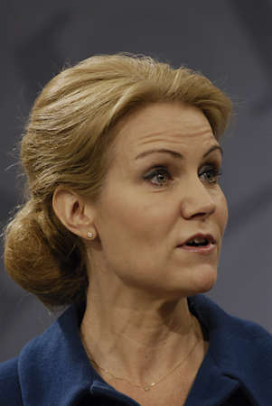 liberal: COPENHAGENDENMARK _ Ms.Helle Thorning-Schmidt danish prime minieter in blue(c)holds Press meeting with Ms.Margrethe Vestager Minister for Economy and home minister from Radical liberal party  and newly elected SF chairman womam and new Minister for Busin