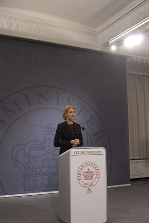 danish prime minister: COPENHAGENDENMARK _ Ms.Helle Thorning-Schmidt  danish prime minister holds her weekly press conference at Mirror Hall at Christiansborg today on tuesday 23 Oct. 2012