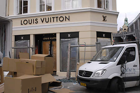 louis vuitton: COPENHAGENDENMARK _ Luxury item Louis Vuitton move to new location at Amager Torv pedestrain street 23 Oct. 2012