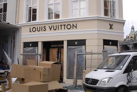 vuitton: COPENHAGENDENMARK _ Luxury item Louis Vuitton move to new location at Amager Torv pedestrain street 23 Oct. 2012        Editorial