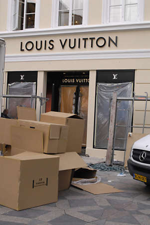 louis vuitton: COPENHAGENDENMARK _ Luxury item Louis Vuitton move to new location at Amager Torv pedestrain street 23 Oct. 2012        Editorial