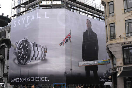 COPENHAGENDENMARK _ Omega watch billboard with Skyfall 007 James Bonds choice at illum department store on stroeget today 23 Oct. 2012