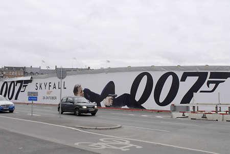 james bond: COPENHAGENDENMARK _ Billboard with James Bond 50 years Skyfall 007 at kongens nytorv 25 October 2012