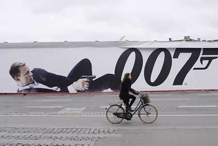 COPENHAGENDENMARK _ Billboard with James Bond 50 years Skyfall 007 at kongens nytorv 25 October 2012