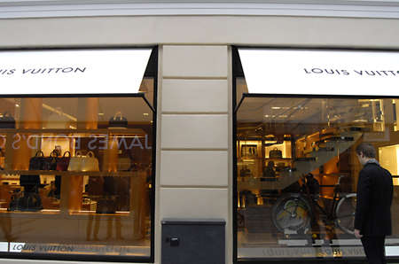vuitton: COPENHAGENDENMARK _ Luxury item Louis Vuitton move to new location at Amager Torv pedestrain street 24 Oct. 2012