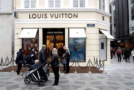louis vuitton: COPENHAGENDENMARK _ Luxury item Louis Vuitton move to new location at Amager Torv pedestrain street 24 Oct. 2012
