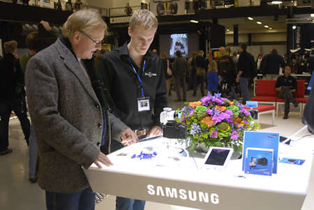 COPENHAGEN/DENMARK _ Samsunbg galaxy smartphones and samsung tablet dispay at Copenhagen Photo Fair 2012 in Forum today on saturday 27 Oct. 2012        Stock Photo - 15944864