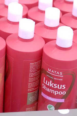 luxus: Copenhagen  Denmark.  Several bottles of Matas Luxus shamppo christmas sale 1 Nov. 2012         Editorial