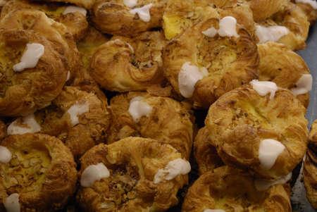 ediroial: Copenhagen   Denmark    Danish pastries and Strawberry cakes at sale at baker shop 2 Nov  2012        Stock Photo