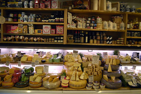 ediroial: Copenhagen  Denmark.   Various varity of cheese at cheese store 3 Nov. 2012