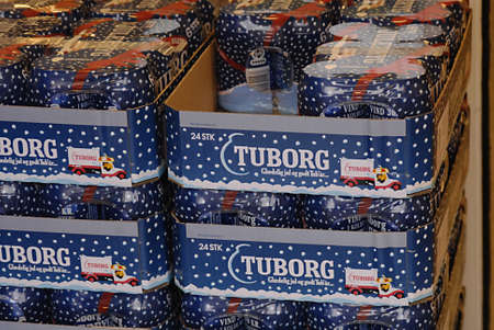 Copenhagen / Denmark. Blue Tuborg beer are for christmas beer in connection with christmas celebrations  3.Nov. 2012      Stock Photo - 16223513