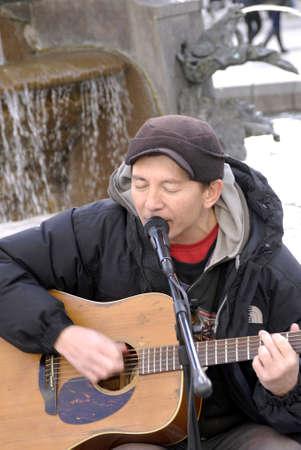 jones: Copenhagen  Denmark. Siner Peter Jones live on the streets on stroeget today at Amager Torv 4 Nov. 2012