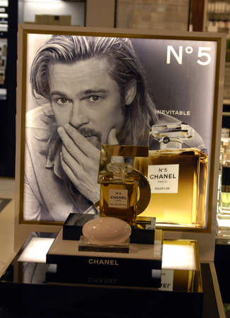 Copenhagen  Denmark. Brad Pitt chanel No.5  paris parfum on sale in Magazine du Nord 4 Nov. 2012