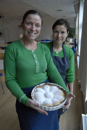 brandt: BROENBYCOPENHAGENDENMARK _ Jeanette Hass holding Pear fruit tart with Bentitina Brandt Hansen had new idea with fresh cooked Pearfrut tart sport journalustrs at Press confernece today on football between Denmark and Turkey ,DBU uses have cake and coffe