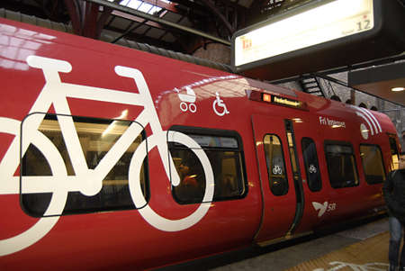 Copenhagen / Denmark.  DBS local train offers free internet adn transporting cycle or bicyle of bike and child pram and able to transport disable family member and socia workers off course with ticket 5 Nov. 2012         Stock Photo - 16224539