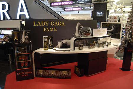 ediroial: Copenhagen  Denmark. Lady Gaga Fame display at illum department store 7 Nov. 2012