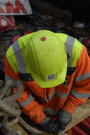 ediroial: Copenhagen  Denmark.  Constructions worker on ste 8 Nov. 2012         Editorial