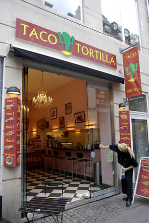 Copenhagen / Denmark.  MEXICAN FAST FOOD RESTAURANT TACO TORTILLA AMERICAN CONCET ON STROGET 7 NOV. 2012      Stock Photo - 16224301