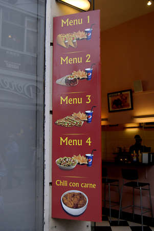 Copenhagen / Denmark.  MEXICAN FAST FOOD RESTAURANT TACO TORTILLA AMERICAN CONCET ON STROGET 7 NOV. 2012       Stock Photo - 16224290