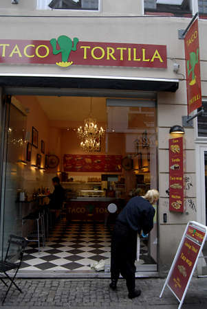 Copenhagen / Denmark.  MEXICAN FAST FOOD RESTAURANT TACO TORTILLA AMERICAN CONCET ON STROGET 7 NOV. 2012    Stock Photo - 16224297