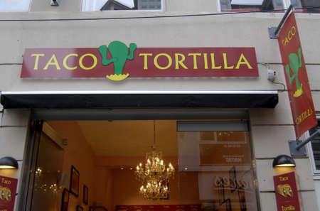 taco tortilla: Copenhagen  Denmark.  MEXICAN FAST FOOD RESTAURANT TACO TORTILLA AMERICAN CONCET ON STROGET 7 NOV. 2012