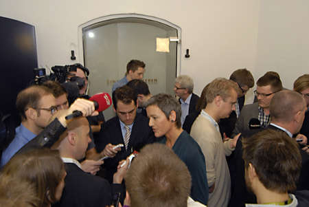 ministers: Copenhagen  Denmark.  Danish government Finance minister Bjarn Corydon center ms.Margrethe Vestager miister for Economy  and home home minister at right  in picture and Holger K.Nielsen minister tax and revenue talking to press media state agreement with