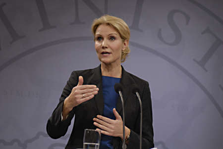 accepts: Copenhagen  Denmark. Ms.Hell Thornins-Schmidt danish prime minister holds her weekly press conference  after three weeks south arian tour ,she accepts helping state finance to SAS crisis airline with milion of danish kroners and then while 9000 jobs SAS