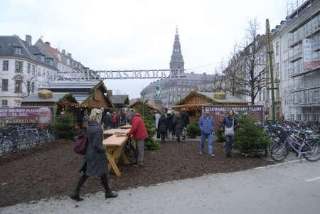 ediroial: Copenhagen  Denmark. Christmas shoppers at Christmas Market at hojbro trov today on friday 16 Nov. 2012