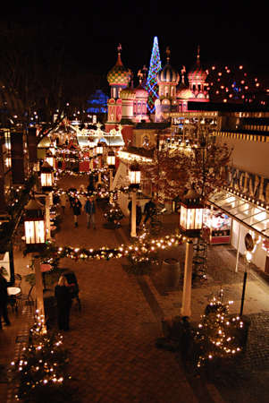 Copenhagen  Denmark. This Russian style christmas and danish style at night in tilvoli garden  and russian christmas decorations has come to Tivoli Garden and now both Denmark and Russian showing together both christmas culture with with different christ