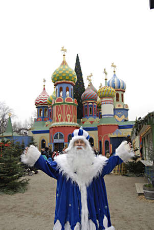 ediroial: Copenhagen  Denmark. This Russian style christmas and russian christmas decorations has come to Tivoli Garden and now both Denmark and Russian showing together both christmas culture with with different christmas tradional things and deocrations like rus Editorial