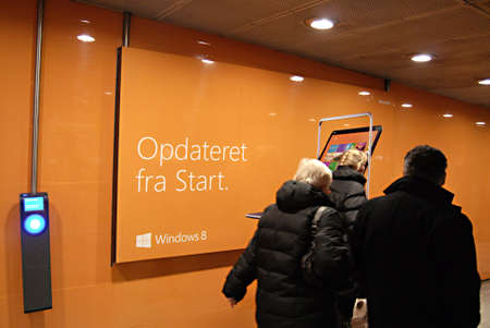 Copenhagen / Denmark.  Window 8 billboard at Norreoport metro train station 18 Nov. 2012       Stock Photo - 16377103