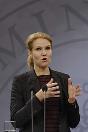 Copenhagen / Denmark. Ms. Helle Thorning-Schmidt prime minister of Denmark holds her weekly press conference and high satification with danish tradi union had made agreement with SAS airlines yesterday danish poilets and flight attendence less wage  and l Banco de Imagens - 16377423