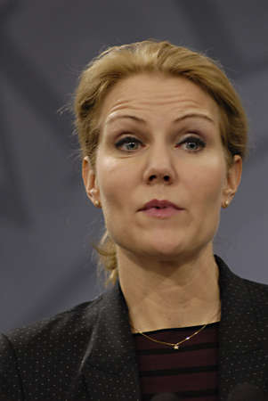 Copenhagen / Denmark. Ms. Helle Thorning-Schmidt prime minister of Denmark holds her weekly press conference and high satification with danish tradi union had made agreement with SAS airlines yesterday danish poilets and flight attendence less wage  and l Banco de Imagens - 16377433