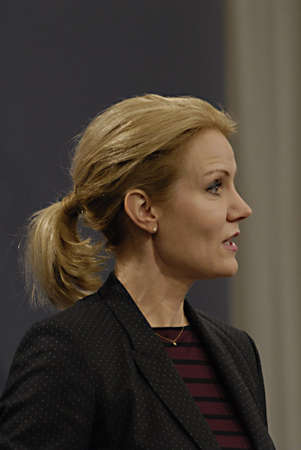 Copenhagen / Denmark. Ms. Helle Thorning-Schmidt prime minister of Denmark holds her weekly press conference and high satification with danish tradi union had made agreement with SAS airlines yesterday danish poilets and flight attendence less wage  and l Banco de Imagens - 16377431