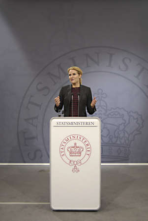 Copenhagen / Denmark. Ms. Helle Thorning-Schmidt prime minister of Denmark holds her weekly press conference and high satification with danish tradi union had made agreement with SAS airlines yesterday danish poilets and flight attendence less wage  and l Banco de Imagens - 16377418