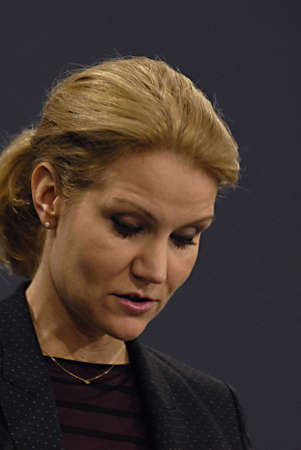 danish prime minister: Copenhagen  Denmark. Ms. Helle Thorning-Schmidt prime minister of Denmark holds her weekly press conference and high satification with danish tradi union had made agreement with SAS airlines yesterday danish poilets and flight attendence less wage  and l
