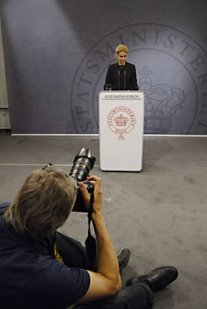 Copenhagen  Denmark. Ms. Helle Thorning-Schmidt prime minister of Denmark holds her weekly press conference and high satification with danish tradi union had made agreement with SAS airlines yesterday danish poilets and flight attendence less wage  and l