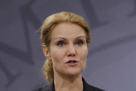 helle thorning schmidt: Copenhagen  Denmark. Ms. Helle Thorning-Schmidt prime minister of Denmark holds her weekly press conference and high satification with danish tradi union had made agreement with SAS airlines yesterday danish poilets and flight attendence less wage  and l