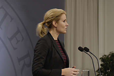 ediroial: Copenhagen  Denmark. Ms. Helle Thorning-Schmidt prime minister of Denmark holds her weekly press conference and high satification with danish tradi union had made agreement with SAS airlines yesterday danish poilets and flight attendence less wage  and l