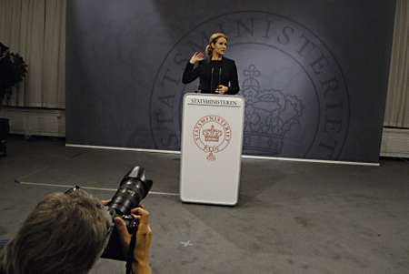 Copenhagen / Denmark. Ms. Helle Thorning-Schmidt prime minister of Denmark holds her weekly press conference and high satification with danish tradi union had made agreement with SAS airlines yesterday danish poilets and flight attendence less wage  and l Banco de Imagens - 16377448