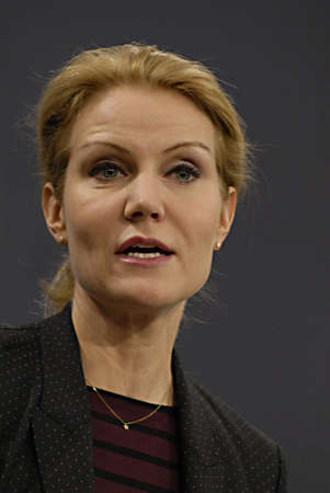 Copenhagen / Denmark. Ms. Helle Thorning-Schmidt prime minister of Denmark holds her weekly press conference and high satification with danish tradi union had made agreement with SAS airlines yesterday danish poilets and flight attendence less wage  and l Banco de Imagens - 16377437